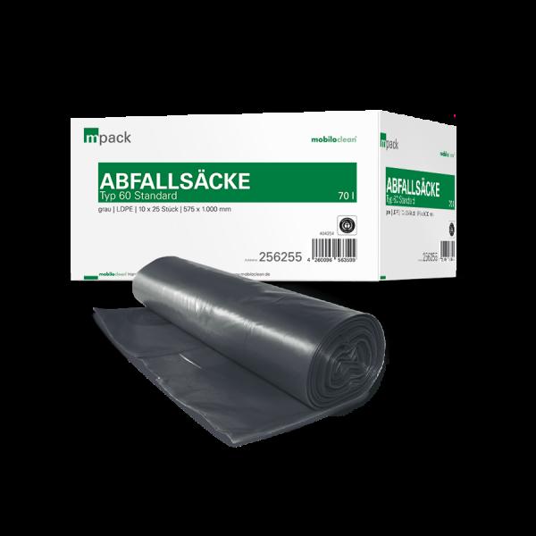 mpack Abfallsäcke 70L grau T60 LDPE 575x1000mm (36my) 25 Stück/Rolle