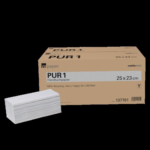 mpaper Papierhandtücher PUR 1 1-lagig V-Falz 25x23cm 20x250 Blatt