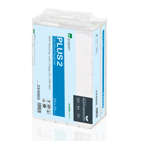 mpaper Papierhandtücher Plus² 2-lagig 24x23cm V-Falz, hochweiß, 4000 Blatt pro Tragepackung