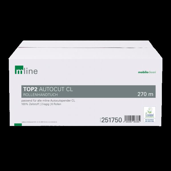 mline² Autocut CL Rollenhandtuchpapier 2-lagig hochweiß, 6 Rollen à 270m