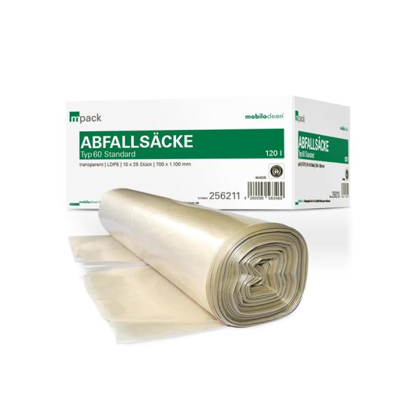 mpack Abfallsäcke 120L transparent T60 LDPE 700x1100mm (36my) 25 Stück/Rolle