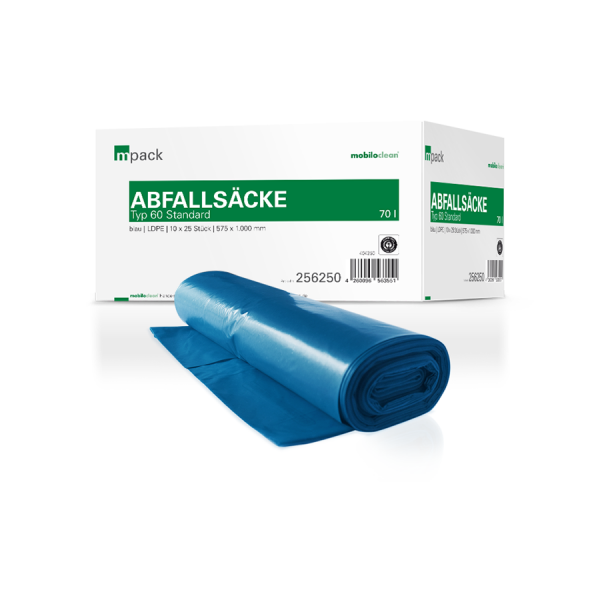 mpack Abfallsäcke 70L blau T60 LDPE 575x1000mm (36my) 25 Stück/Rolle