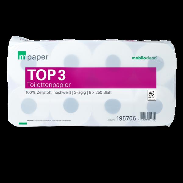 mpaper Toilettenpapier Top³ 3-lagig hochweiß, 9x8 Rollen à 250 Blatt