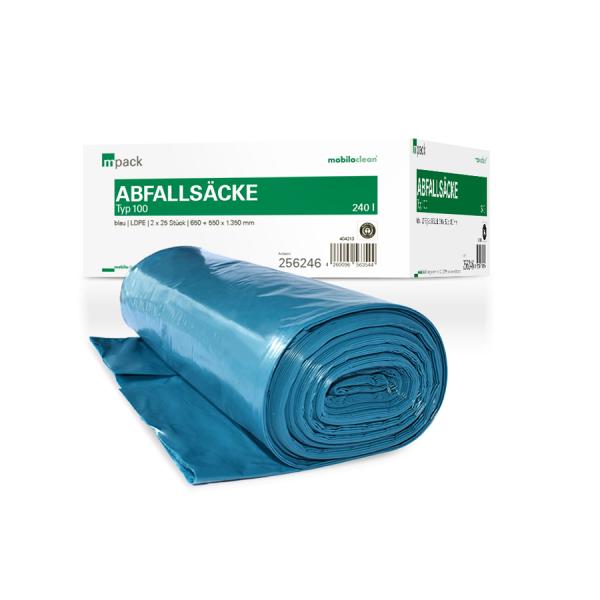 mpack Abfallsäcke 240L blau T100 LDPE 650+550x1350mm (80my) lose (50 Stück)
