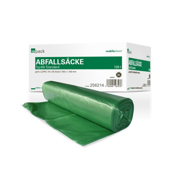 mpack Abfallsäcke 120L grün T60 LDPE 700x1100mm (36my) 25 Stück/Rolle
