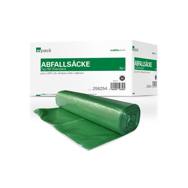 mpack Abfallsäcke 70L grün T60 LDPE 575x1000mm (36my) 25 Stück/Rolle